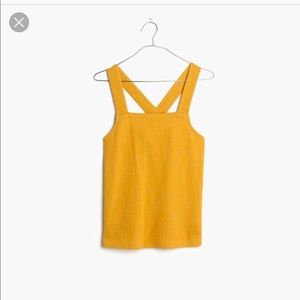 Madewell Yellow Cross Back Tank Large